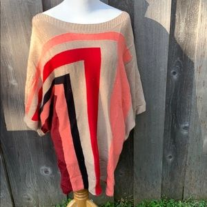 NWT VERTIGO 3/4 Large Sleeve Colorblock Sweater XL